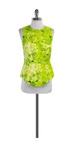 Tibi Neon Green Floral Sleeveless Top