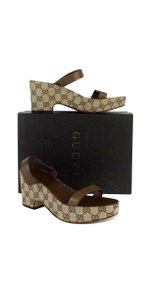 Gucci Brown Leather Monogram Platform Sandals
