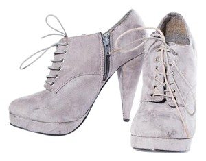 Love Culture Lace Up Chunky Heel Gray Boots