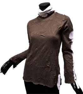Komarov Kisca By Crinkle Knit Deconstructed Roll Neck Tunic