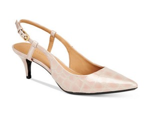 Calvin Klein Patsi Patent Leather Slingback Clay(Pastel Pink) Pumps
