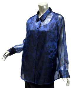 Laura Scott Twinset 16w Floral Button Down Tunic Top Blue and black