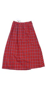 Love Moschino Red Black Plaid Maxi Skirt