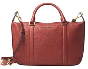 Michael Kors Raven Pebbled Leather / Large Satchel in Brick / Gold