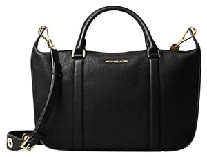 Michael Kors Raven Pebbled Leather Brick / Large Satchel in black / Gold