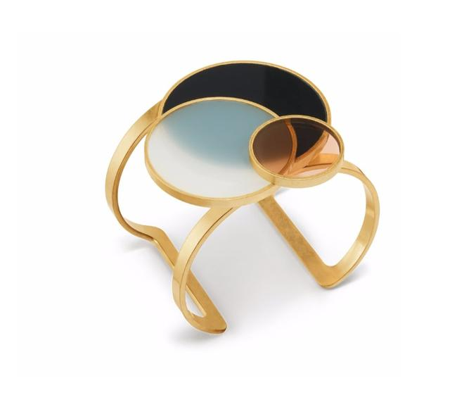 Item - Black/Gold/Multi Circle Cuff Bracelet