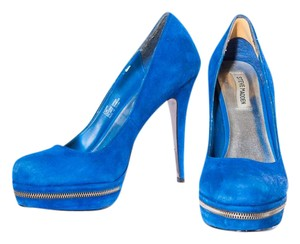 Steve Madden Leather Zipper Front Platform Blue Pumps