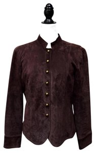 Live A Little Chapeau Noir Mandarin Collar Military Washable Suede Chocolate Brown Leather Jacket