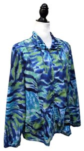 Chico's Chapeau Noir Ruched Watercolor Zip Front Jacket Jacket