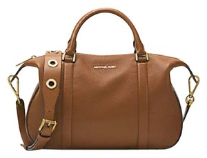Michael Kors Raven Pebbled Leather Brick / Large Satchel in Luggage / Gold