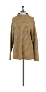 Burberry Tan Ribbed Wool Mockneck Sweater