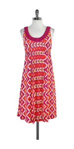 Tory Burch Pink Yellow White Printed Silk Dress