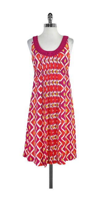 Item - Multicolor Pink Yellow & White Printed Silk Mid-length Formal Dress Size 6 (S)