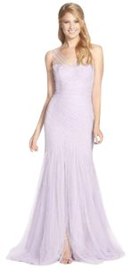 Monique Lhuillier Lavender Illusion Yoke Pleat Tulle Trumpet Gown Dress