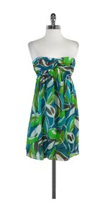 MILLY short dress Green Blue Print Strapless on Tradesy