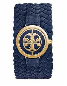 Tory Burch REVA BRAIDED TRIPLE-WRAP WATCH, NAVY LEATHER/GOLD-TONE, 29 MM TRB4037
