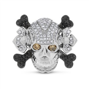 Other 2.20 CT Natural White, Black & Brown Diamond Men's Skull Ring in Solid