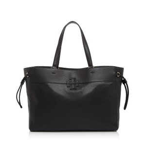 Tory Burch Leather Stacked T East/west Tote in Black