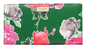 Kate Spade Grant Street Grainy Vinyl Stacy Wallet Sprout Green Spring Blooms