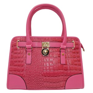 Vecceli Italy Faux Leather Satchel Handbag Alligator Leather Tote in Rose