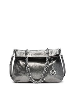 Michael Kors Kors Lacey Embossed Leather Fold Over Tote in Nickel