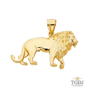 Top Gold & Diamond Jewelry Lion Pendant, 14K Yellow Gold Lion Pendant