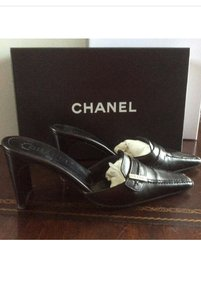Chanel Leather Slide Ons Black Mules