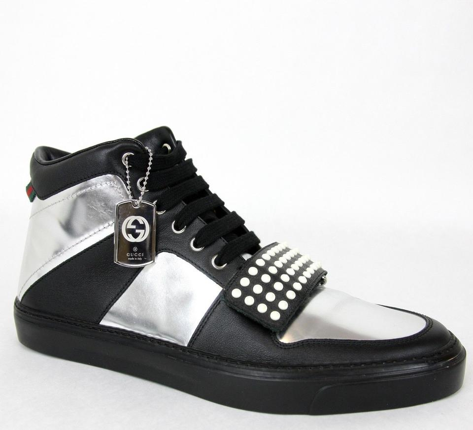51dc2d91b Gucci Silver Black Men s High-top Sneaker Limited Edition 376194 1064 Size  11.5 G   Us 12 Shoes