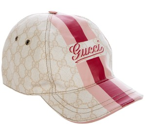 Gucci Ivory, red GG monogram leather Gucci baseball cap L