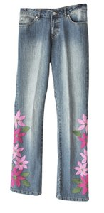 Lilly Pulitzer Boho Hippie Floral Embroidered Straight Leg Jeans-Medium Wash