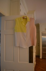 Equipment Sophisticated Can Dress Up Or Down Very Pretty Fashion Forward Top Color block, yellow, white and pink