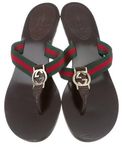 Gucci Embellished Gg Horsebit Hardware Black, Gold, Red Sandals