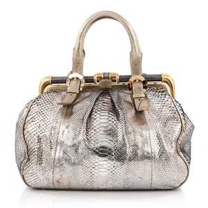 Oscar de la Renta Python Satchel in Gold and Silver