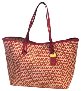 Ralph Lauren Tote in fuchsia/orange/white
