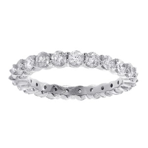 Avital & Co Jewelry 1.65 Carat Round Cut Diamond Eternity Band 14k White Gold