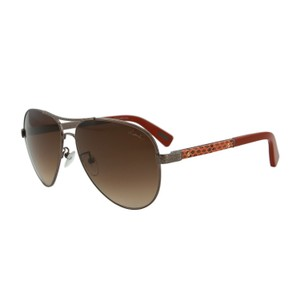 Lanvin New Lanvin SLN037V Bronze Orange Snake Leather Trim Aviator S