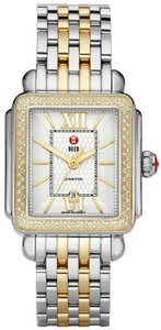Michele NEW Deco Guilloche Dial Diamond Two Tone Gold MWW06T000061 Watch
