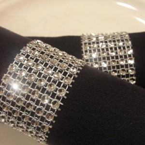 100 Silver Bling Rhinestone Style Napkin Rings Decoration Party