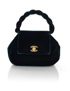 Chanel Vintage Velvet Top Evening Green Clutch