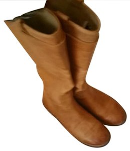 Frye Leather Riding Tall Moto Camel Boots