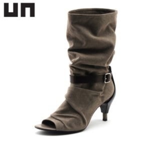United Nude Open Toed Canvas pewter and black Boots
