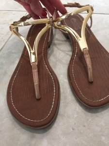 Carlos by Carlos Santana Summer Gladiator Style Embellished Brown and Gold Sandals