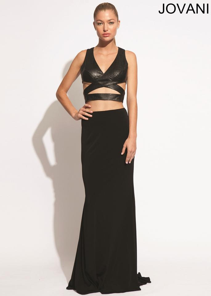 Jovani Black Leather Croc Look Open Mid Drift Prom Gown 8 Long