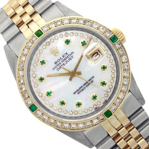 Rolex Rolex Men's Datejust 16013 White String MOP Emerald and Diamond Bezel