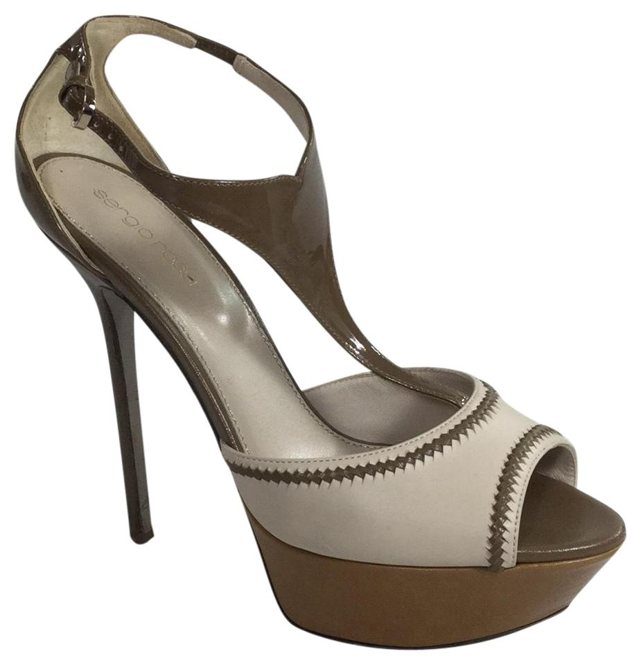 714134d5a9a Sergio Rossi Taupe   Ivory Two Toned Heels Platforms Size US 8 ...