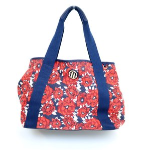 Tommy Hilfiger Floral Navy Flowers Tote in Red