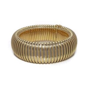 Cartier Tubogas 18K Gold & Steel Reeded Bangle