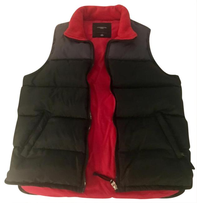 Item - Black Grey Red Puffy Down Like New Color Pattern Medium Vest Size 8 (M)