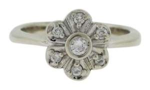 Other Vintage Diamond Flower Ring- 14k White Gold