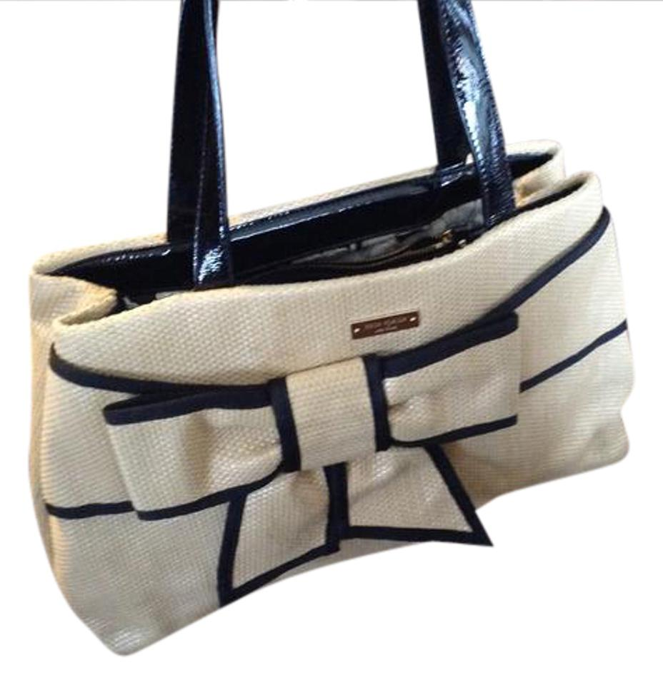afbe4b1d1812 Kate Spade Beige and Some Black Straw Look Canvas Tote - Tradesy